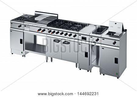 Kitchen equipment metal modern with knob. 3D graphic