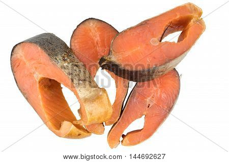 Slices Of Cold Smoked Pink Salmon Or Humpback Salmon Isolated On White Background Close Up Top View