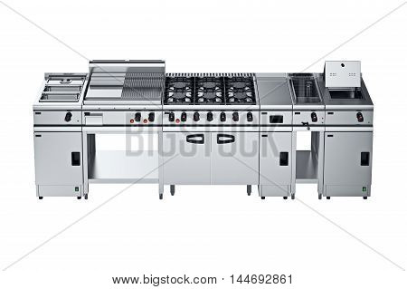 Kitchen equipment professional with stove. 3D graphic