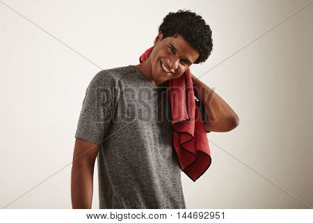 Athlete In Gray Shirt With Red Towel