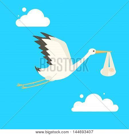 Stork delivering baby. Cartoon colorful vector illustration