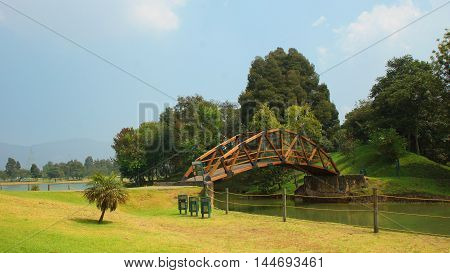 Bogota, Cundinamarca / Colombia - January 21 2016: View of wooden bridge in the park Simon Bolivar in the city of Bogota