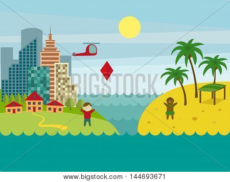 Developed and underdeveloped countries. City landscape. Cartoon colorful vector illustration