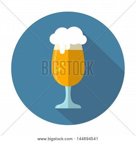 Stylized beer mug on a blue background. Flat design.