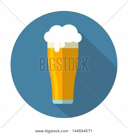 Stylized beer with shadow on a blue background. Flat design.