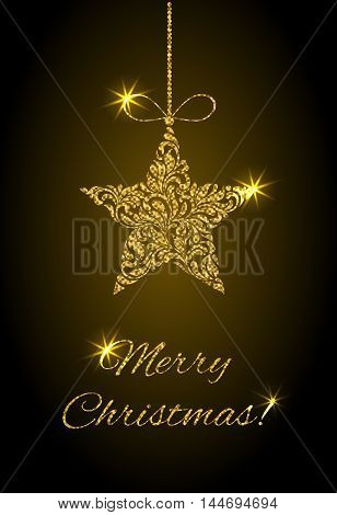 Elegant Greeting Card. Merry Christmas! Star From Abstract Floral Ornament With Golden Glitter