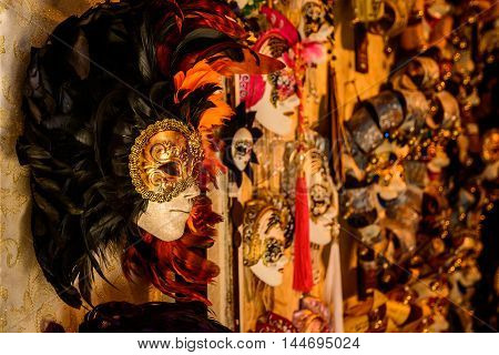 Many traditional carnival masks in Venice Italy
