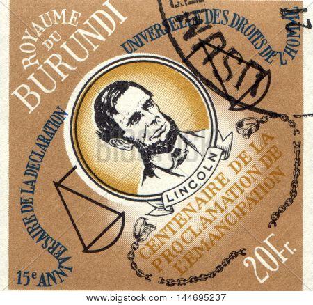 BURUNDI - CIRCA 1989: stamp printed by Burundi, shows Abraham Lincoln, circa 1989