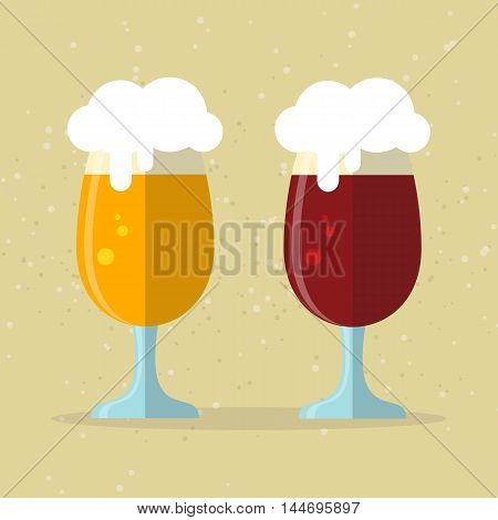 Two stylized beer glasses on a beige background. Flat design.