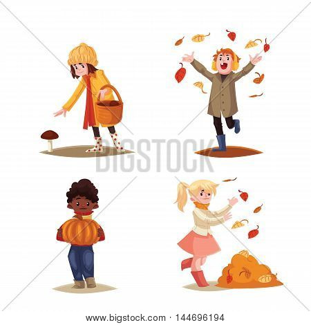 Set of kids enjoying outdoor fall activities, cartoon style vector illustration isolated on white background. Kids throwing leaves, picking mushrooms, holding a pumpkin, seasonal autumn activities