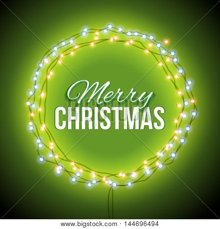 Round frame with glowing lights, garlands of green with the words Merry Christmas.. Background on sale, discounts, promotions in the winter. Seasonal advertising. Suitable for printing, mailing