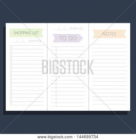 Set Of Templates To Do List, Shopping List And Notes. Blank Form. 3 Pieces On A Sheet Of A4