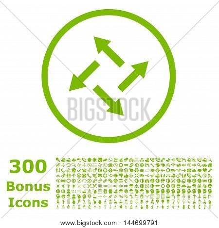 Centrifugal Arrows rounded icon with 300 bonus icons. Glyph illustration style is flat iconic symbols, eco green color, white background.