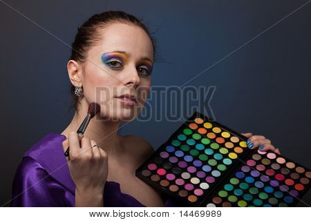 Young Woman With Cosmetic Palette.