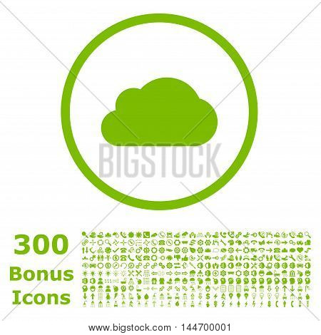 Cloud rounded icon with 300 bonus icons. Glyph illustration style is flat iconic symbols, eco green color, white background.
