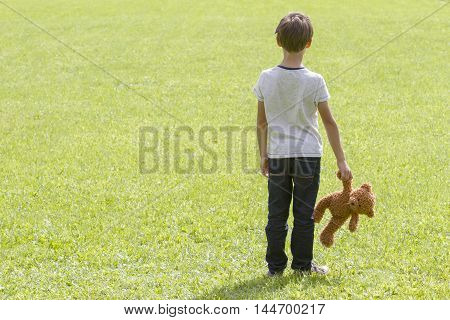 Sad young boy is holding a brown teddy bear and standing on the meadow. Back view. adness fear frustration loneliness concept