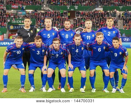 VIENNA, AUSTRIA - SEPTEMBER 5, 2015: The team of Moldavia poses before an European Championship qualification game.