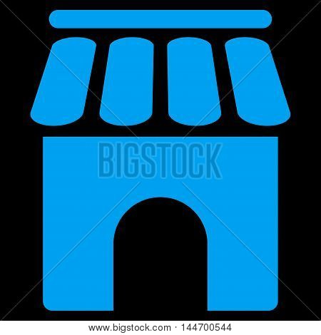 Shop Building icon. Vector style is flat iconic symbol, blue color, black background.