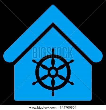 Steering Wheel House icon. Vector style is flat iconic symbol, blue color, black background.