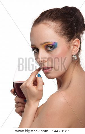 Young Woman With Glass Of Wine.