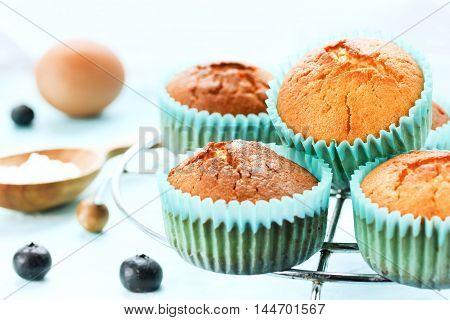 Fresh vanilla muffins, homemade baking composition, tasty muffin