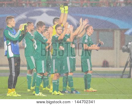VIENNA, AUSTRIA - AUGUST 19, 2015: The team of SK Rapid thanks their fans after an UEFA Champions League qualification game.