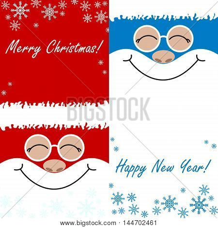 greeting card Merry Christmas Happy New Year a set of santa claus smiles on a blue and red background