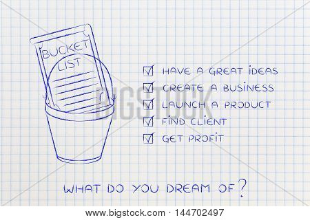 Bucket List With  Innovative Business Success, Checklist Version