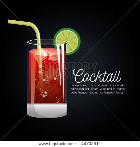 cocktail tropical poster bar icon vector illustration design