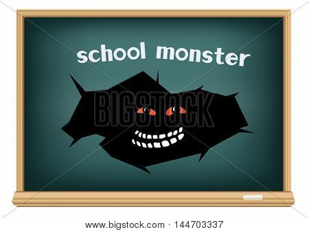 School monster in crack hole on blackboard isolated on white background