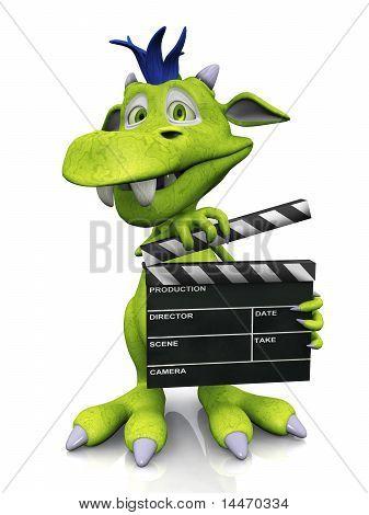 Cute Cartoon Monster Holding A Film Clapboard.
