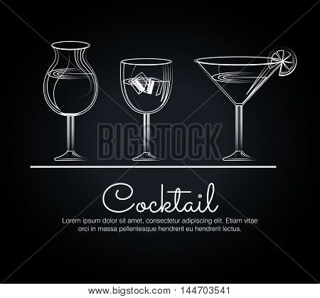 menu cocktails list bar vector illustration design
