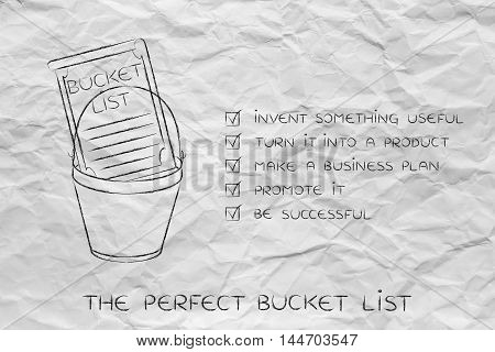 Bucket List With Innovative Product Success, Thought Bubbles Version