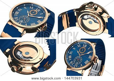 Wrist watch gold classic accessory set, close view. 3D graphic