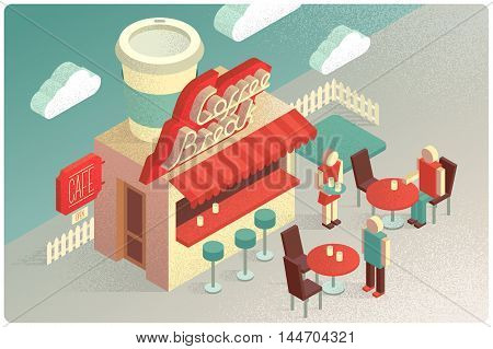 Isometric small cafe with big coffee cup on the roof