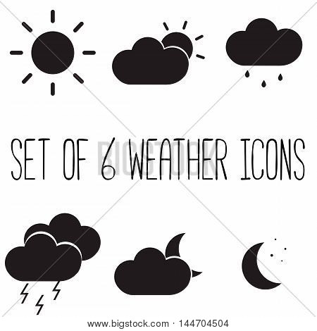 Set of 6 weather meteorological icons. Sun and cloud thunderstorm sun moon and stars moon and cloud cloud and rain. Six vector illustration.
