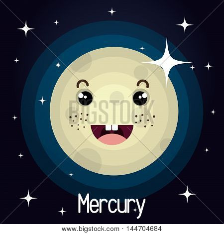 mercury planet character space background vector illustration design