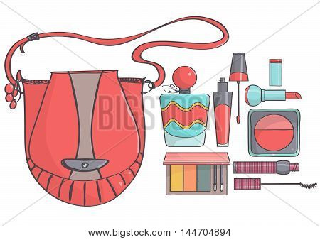Hand drawn vector illustration with red bag and colorful makeup set. Trendy, cute bag and makeup products.