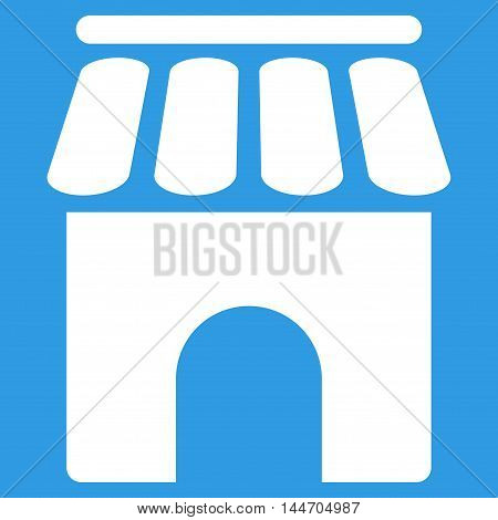 Shop Building icon. Vector style is flat iconic symbol, white color, blue background.