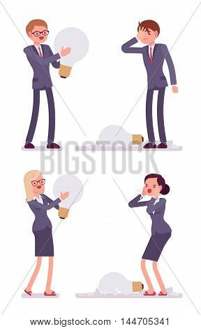 Businessmen and women with light bulbs one is broken glass fragments are around. Cartoon vector flat-style illustration