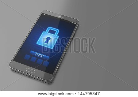 Smartphone with closed lock screen. 3D Illustration