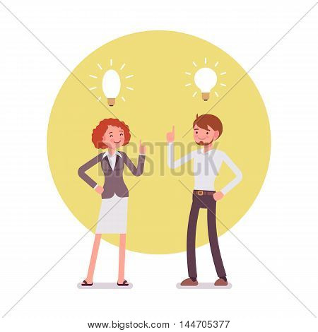 Man and woman are pointing to the lamp idea. Yellow circle background. Cartoon vector flat-style concept illustration