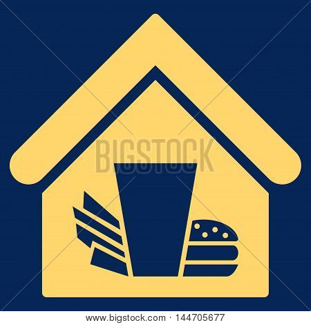 Fastfood Cafe icon. Vector style is flat iconic symbol, yellow color, blue background.