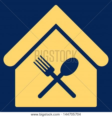 Food Court icon. Vector style is flat iconic symbol, yellow color, blue background.