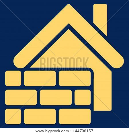 Realty Brick Wall icon. Vector style is flat iconic symbol, yellow color, blue background.