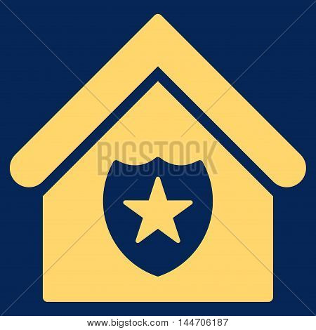 Realty Protection icon. Vector style is flat iconic symbol, yellow color, blue background.