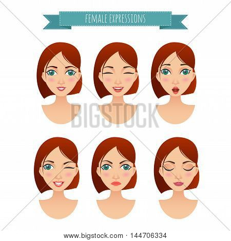 set of women faces with different expressions for your design