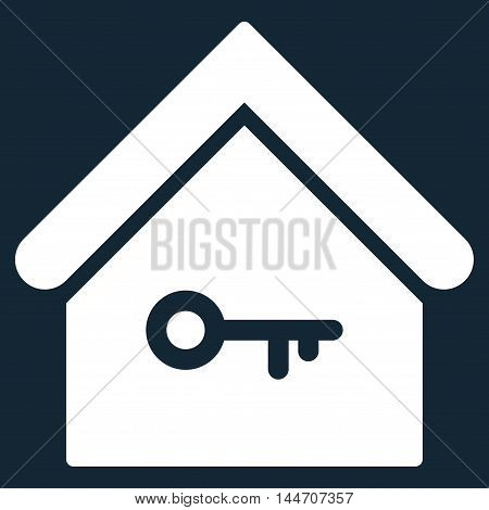 Home Key icon. Vector style is flat iconic symbol, white color, dark blue background.