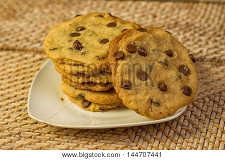Group of Vegan Chocolate Chips Cookies on a plate