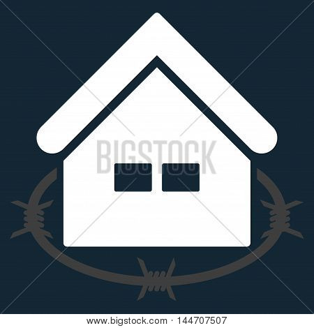Prison Building icon. Vector style is flat iconic symbol, white color, dark blue background.